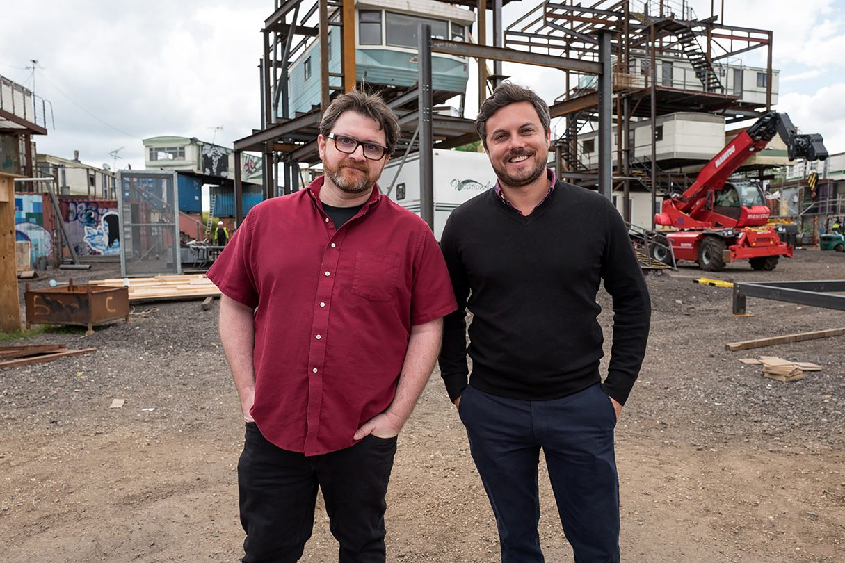 (L-R) Ernest Cline and Ready Player One producer, Dan Farah, on the set of Ready Player One, over a decade after they met at SXSW.