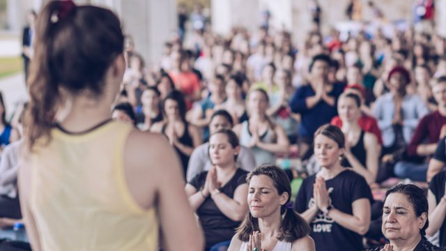 Yoga with Adriene at the Fitness Stage at SXSW Wellness Expo 2019