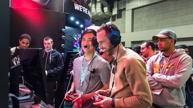 Attendees enjoying the HyperX booth in the Gaming Expo at SXSW Gaming 2019.