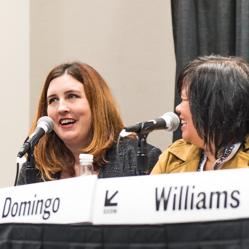 Tammy Williams and Marie Domingo on the Women In Film Behind the Scenes Session - Photo by Tina Rataj