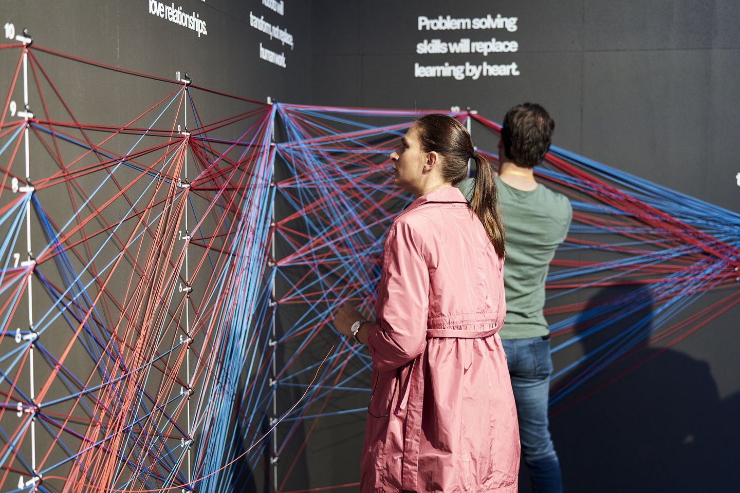 This interactive installation mapped attendee responses to questions about the future. Photo by Richard Pflaume/Daimler AG