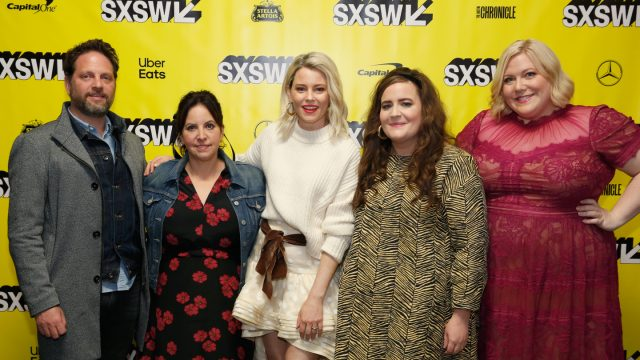 (L-R) Max Handelman, Alexandra Rushfield, Elizabeth Banks, Aidy Bryant, and Lindy West at the Shrill World Premiere – Photo by Sean Mathis/Getty Images for SXSW