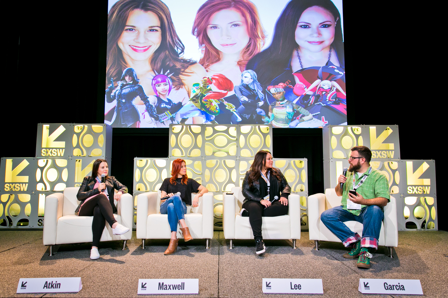 Victoria Atkin, Elizabeth Maxwell, and Mela Lee speaking at the New Voices in Gaming panel on the Discovery Stage at SXSW Gaming 2019. Photo by Travis Lilley