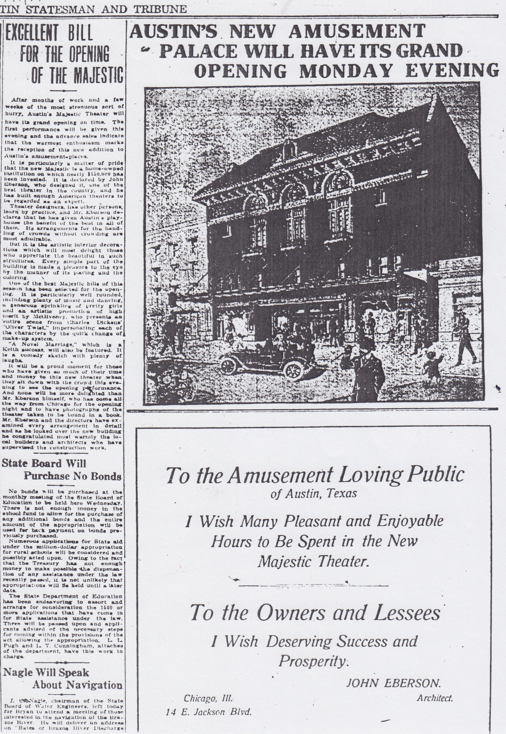 1915 Austin Statesman and Tribune article on Opening of the Majestic – Photo courtesy of the Austin Theatre Alliance