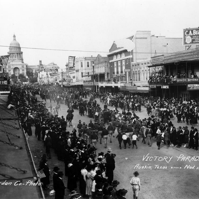 Armistice Day parade celebrating the end of World War I (11/11/1918). Taken from the SW corner of 7th and Congress.