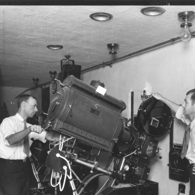 The projection booth at the Paramount Theatre during the 1930s