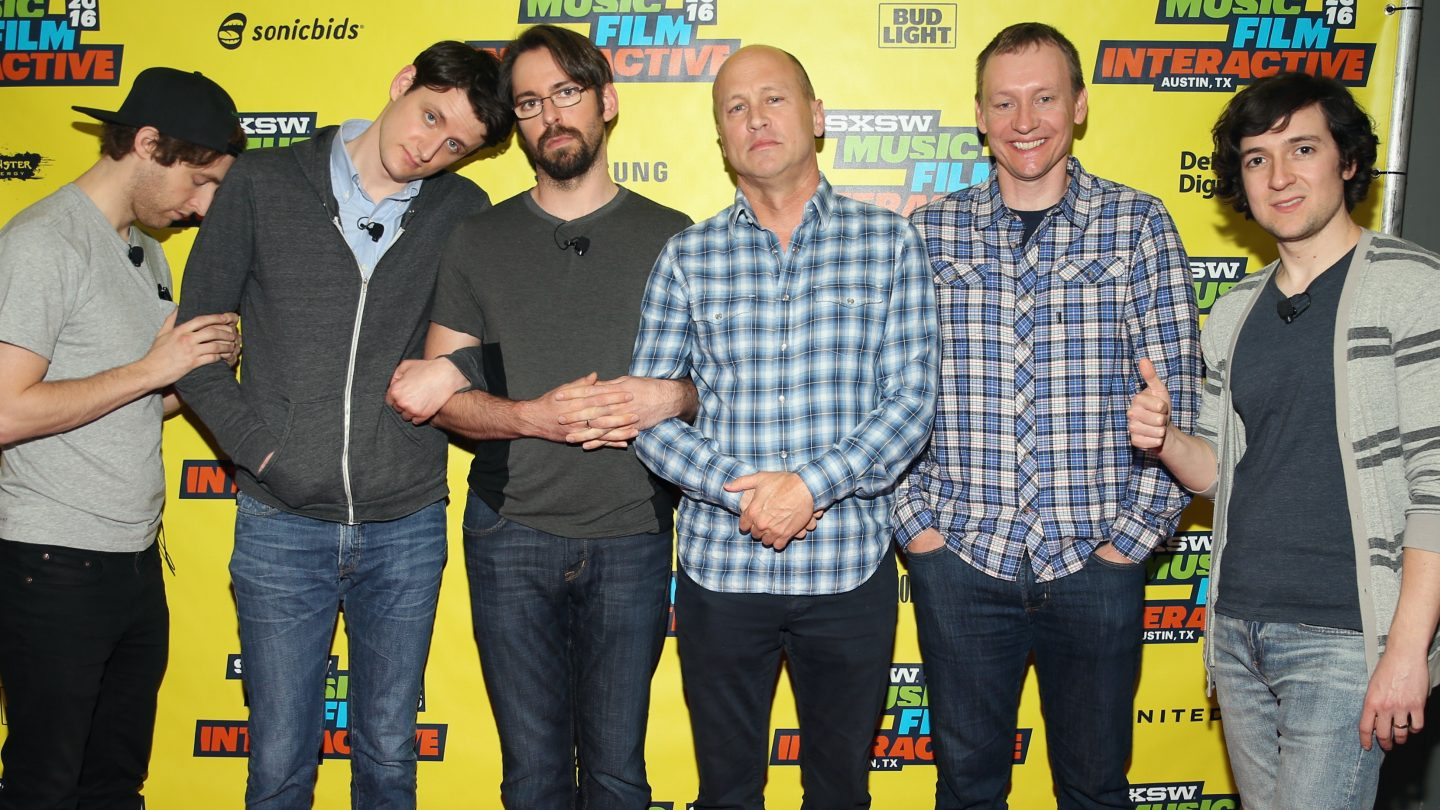 (L-R) Actors Thomas Middleditch, Zach Woods, Martin Starr, writer/director/producer Mike Judge, executive producer Alec Berg and actor Josh Brener attend 'SILICON VALLEY: Making the World a Better Place' during the 2016 SXSW Music, Film + Interactive Festival at Austin Convention Center on March 12, 2016 in Austin, Texas. (Photo by Steve Rogers Photography/Getty Images for SXSW)
