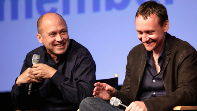 Filmmaker/producer Mike Judge (L) and executive producer Alec Berg