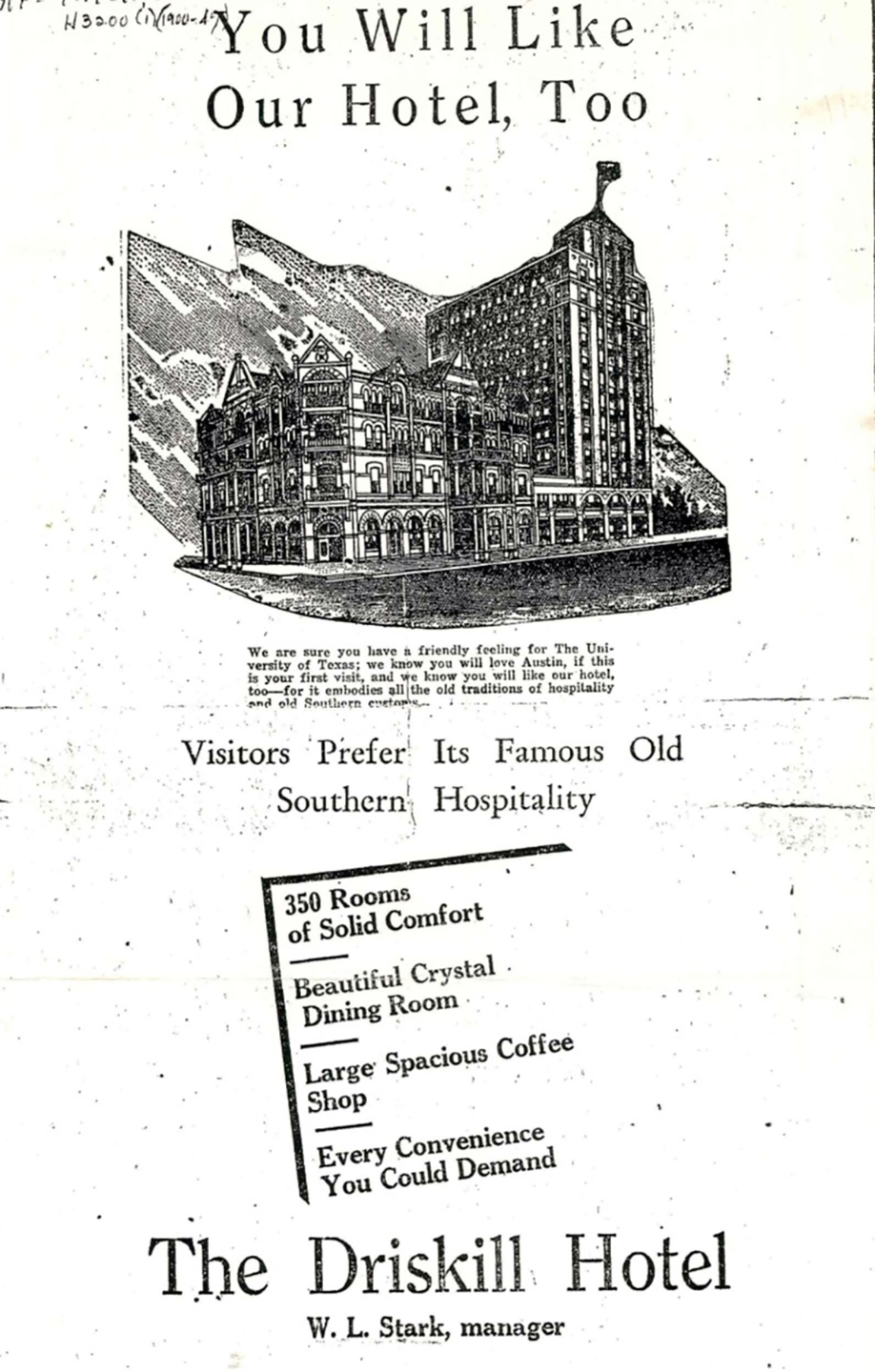 1930s advertisement for the Driskill Hotel in Austin, Texas