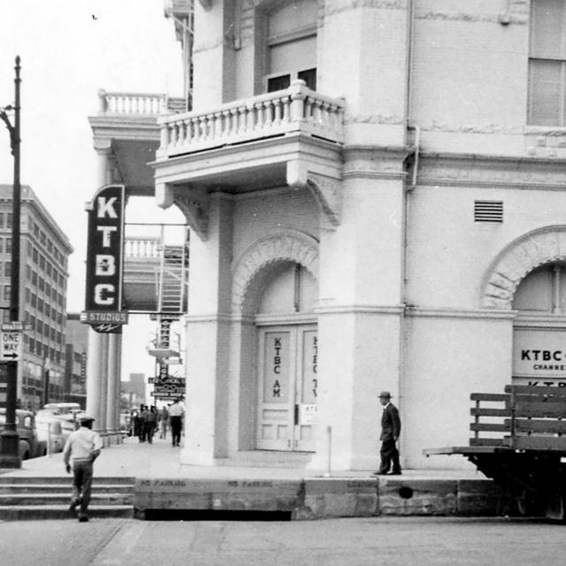 historic image of Sixth and Brazos in Austin Texas, KTBC Studios