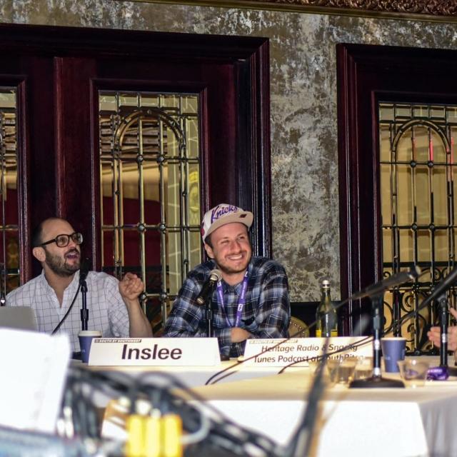 Darin Bresnitz and Jack Inslee record the <em>Snacky Tunes</em> podcast, SXSW 2016