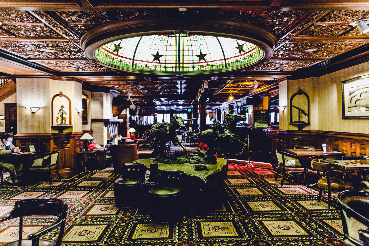 view of the bar inside the Driskill Hotel in Austin, Texas