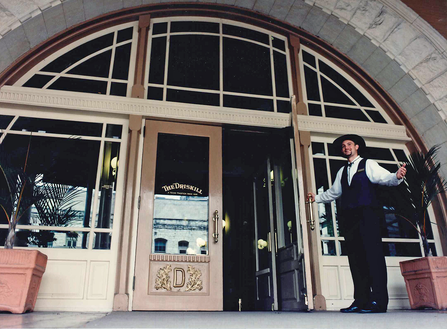 The Driskill Hotel Entrance in the late Nineties in Austin, Texas