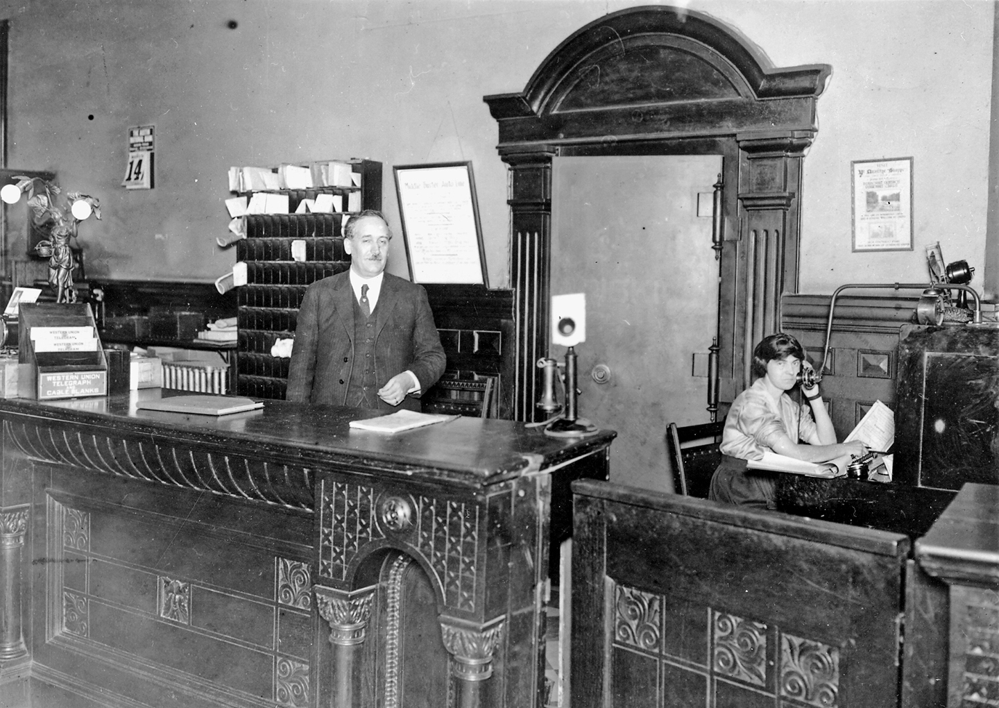 vintage front desk image of the Driskill Hotel in Austin, Texas