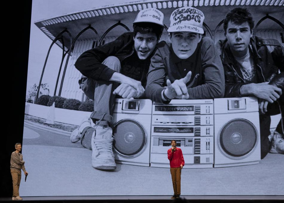 Beastie Boys Story - Photo Courtesy of Apple. Photo by Atiba Jefferson. Background image by Glen E. Friedman.