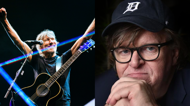 Roger Waters and Michael Moore, Music Keynotes - Photos courtesy of Speakers
