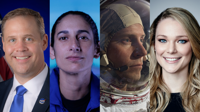 """Are You Ready for the Future of Space Exploration? 2020 Keynote - Jim Bridenstine, Jasmin Moghbeli, Tyler N. """"Nick"""" Hague, and Jackie Wattles - Photos courtesy of speakers"""