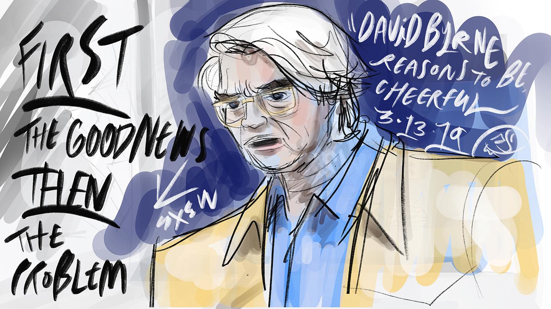 David Byrne at SXSW 2019 - Live Illustration by Ami Plasse