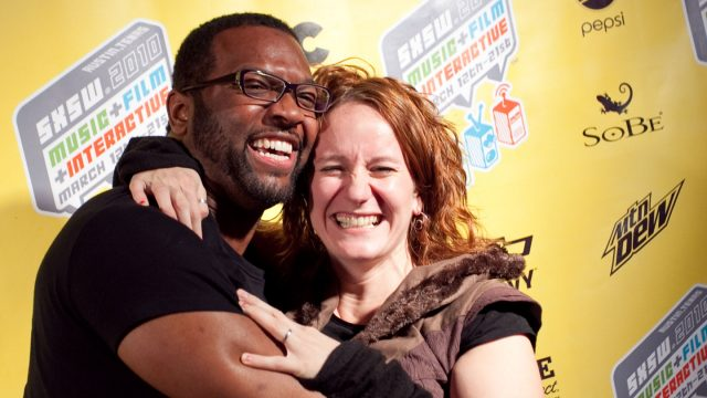 Baratunde Thurston poses with danah boyd - SXSW 2010. Photo by Michael Cummings