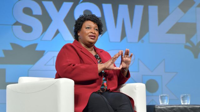 Stacey Abrams speaks onstage at