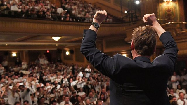 Michael Fassbender cheers on a full house at the Paramount Theatre before the screening of