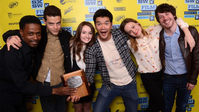 Actor LaKeith Stanfield, actor Rami Malek, actress Kaitlyn Dever, director Destin Cretton of the film