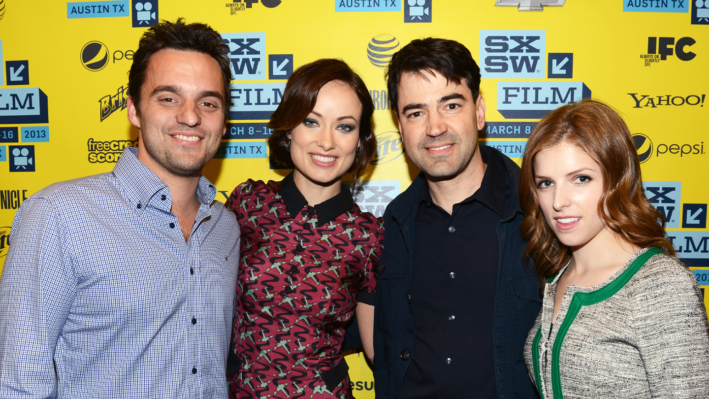 Actors Jake Johnson, actress Olivia Wilde, actor Ron Livingston and actress Anna Kendrick attend the World Premiere of