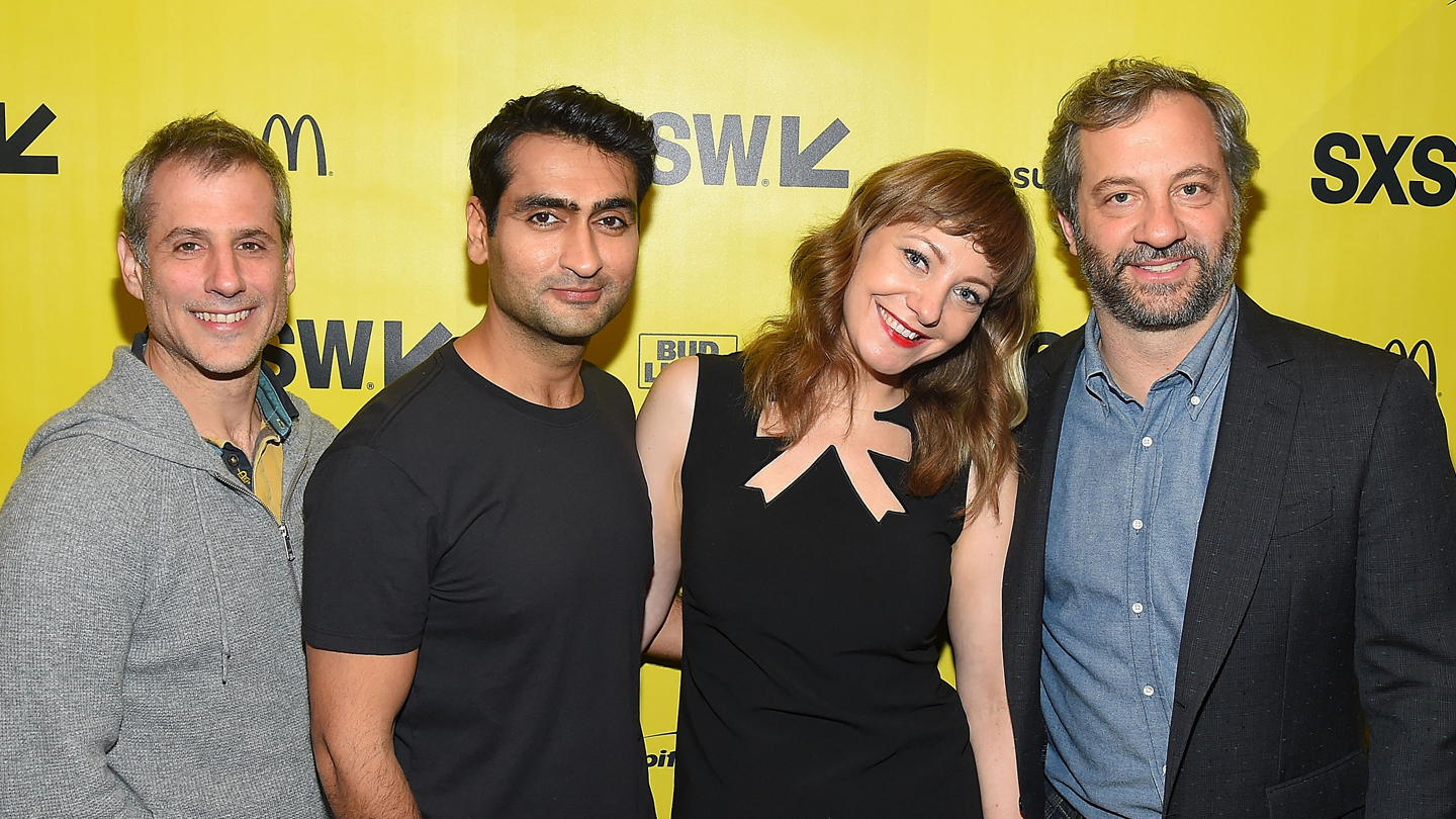 Producer Barry Mendel, writer/actor Kumail Nanjiani, writer Emily V. Gordon, and producer Judd Apatow attend the