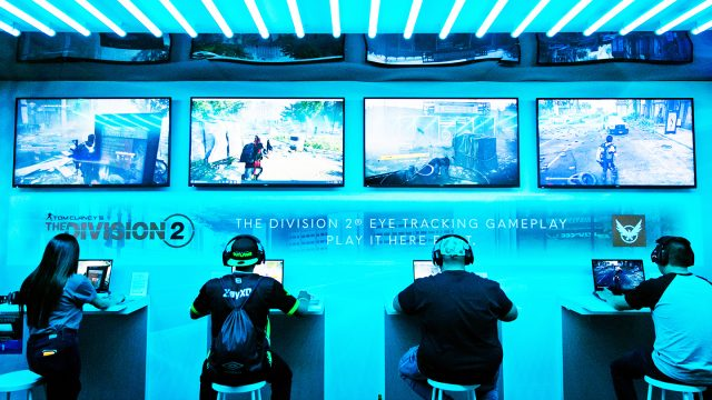 Gaming Alienware Lounge in the Sunset Room, SXSW 2019. Photo by Travis Lilley