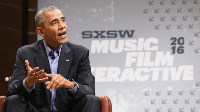 SXSW Keynote President Barack Obama speaks onstage - SXSW 2016. Photo by Neilson Barnard/Getty Images for SXSW