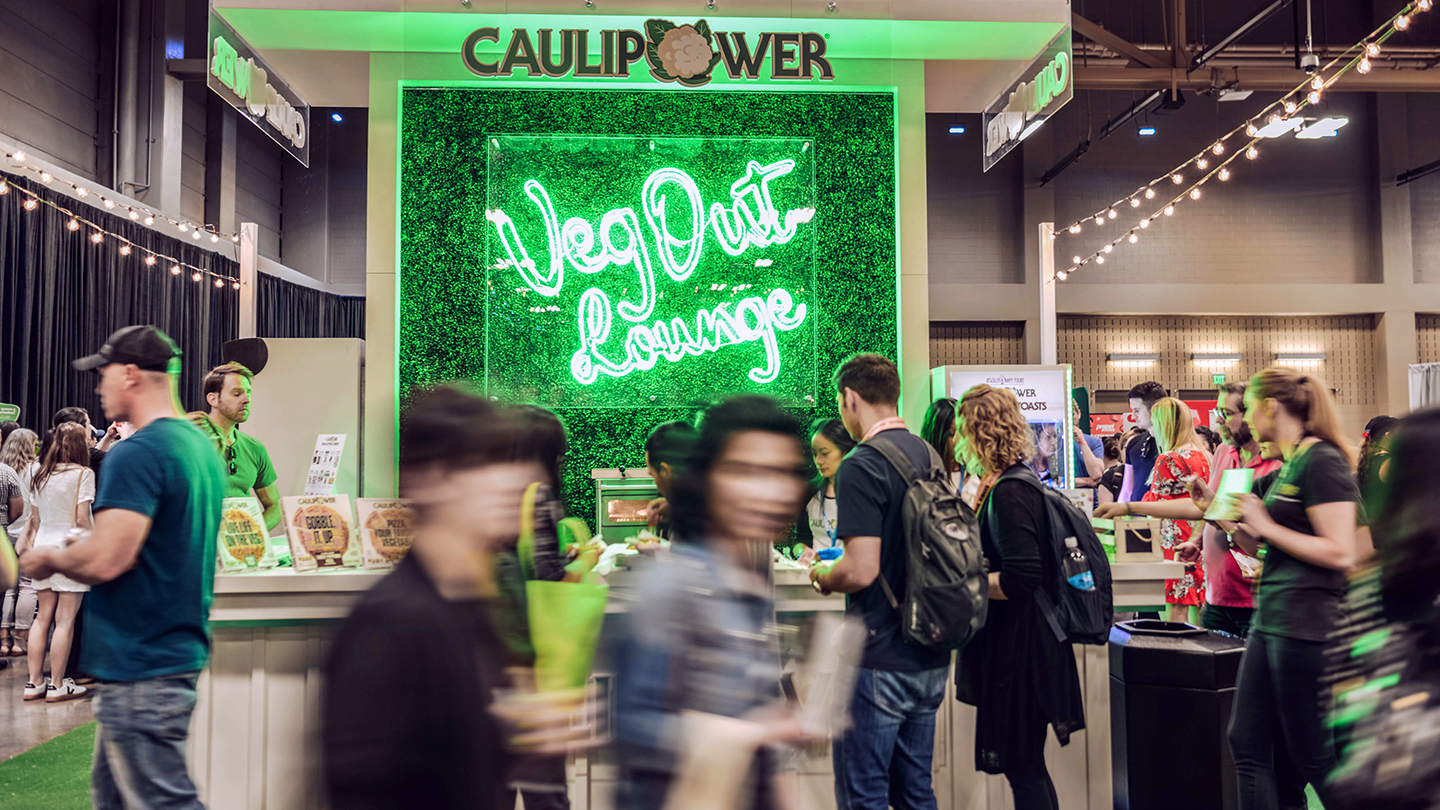 SXSW Wellness Expo 2019 Exhibitor Caulipower at the Veg Out Lounge. Photo by Matthew Bradford