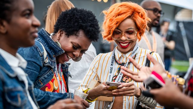 Attendees networking at the Black Tech Meet Up during SXSW 2019. Photo by Aaron Rogosin.