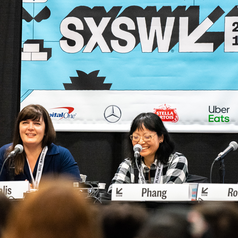 Kat Candler, Amanda Marsalis, Jennifer Phang, and Todd Rohal speak onstage during the session