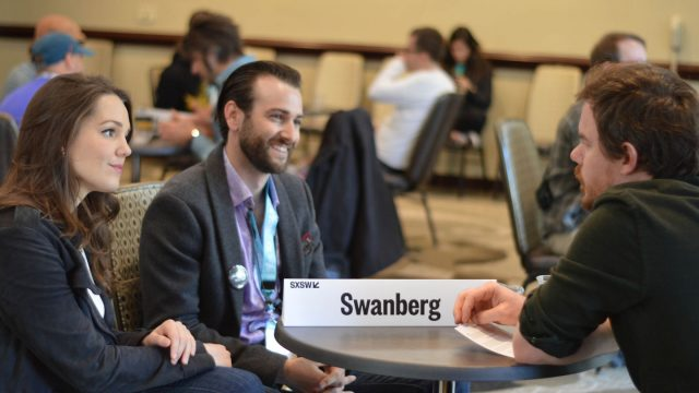 Narrative Filmmaker Mentor: Joe Swanberg speaks with mentees - SXSW 2018. Photo by Nicole Burton