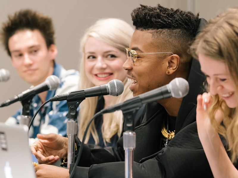 Jacob Collier, Natalie Weiner, Christian Scott Atunde Adjuah and Tina Edwards speak at the Jazz in the Digital Age session during SXSW 2017. Photo by Danny Matson.