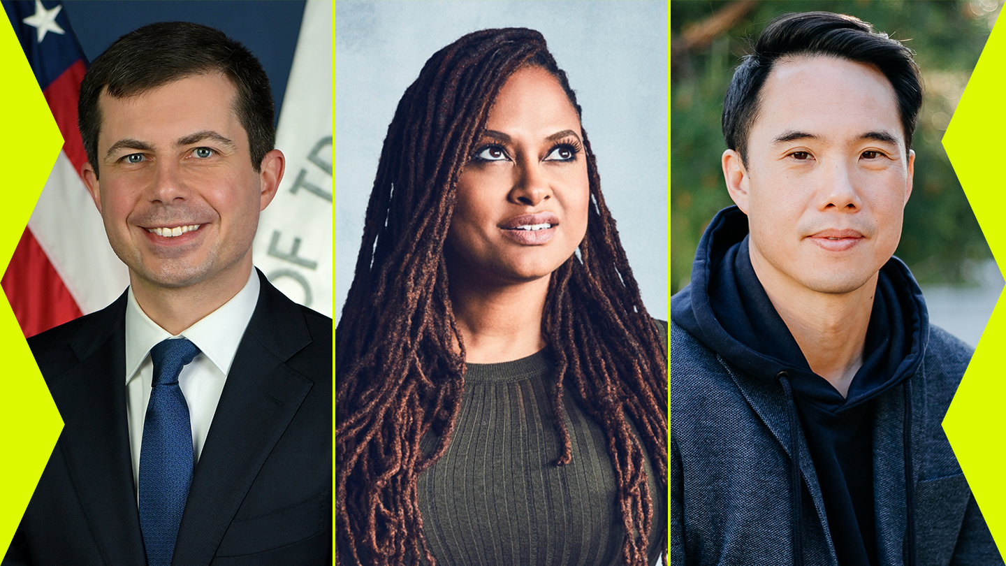 2021 SXSW speakers (l-r) Pete Buttigieg, Ava DuVernay, and Charles Yu