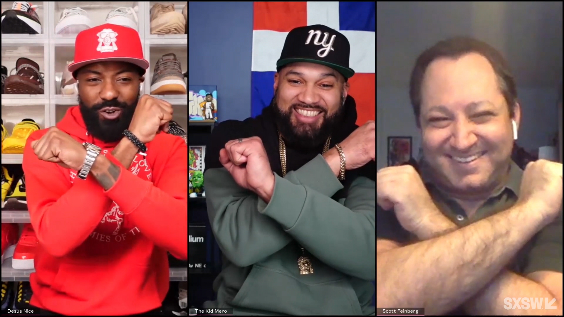 """From left: Desus Nice, The Kid Mero and Scott Feinberg speak at the featured session """"A Conversation with Desus Nice and The Kid Mero"""" during SXSW Online on March 17, 2021."""
