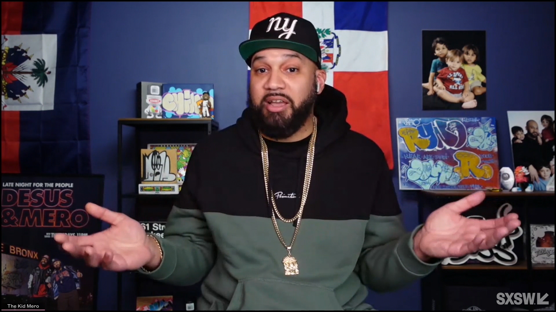 """The Kid Mero speaks at the featured session """"A Conversation with Desus Nice and The Kid Mero"""" during SXSW Online on March 17, 2021."""