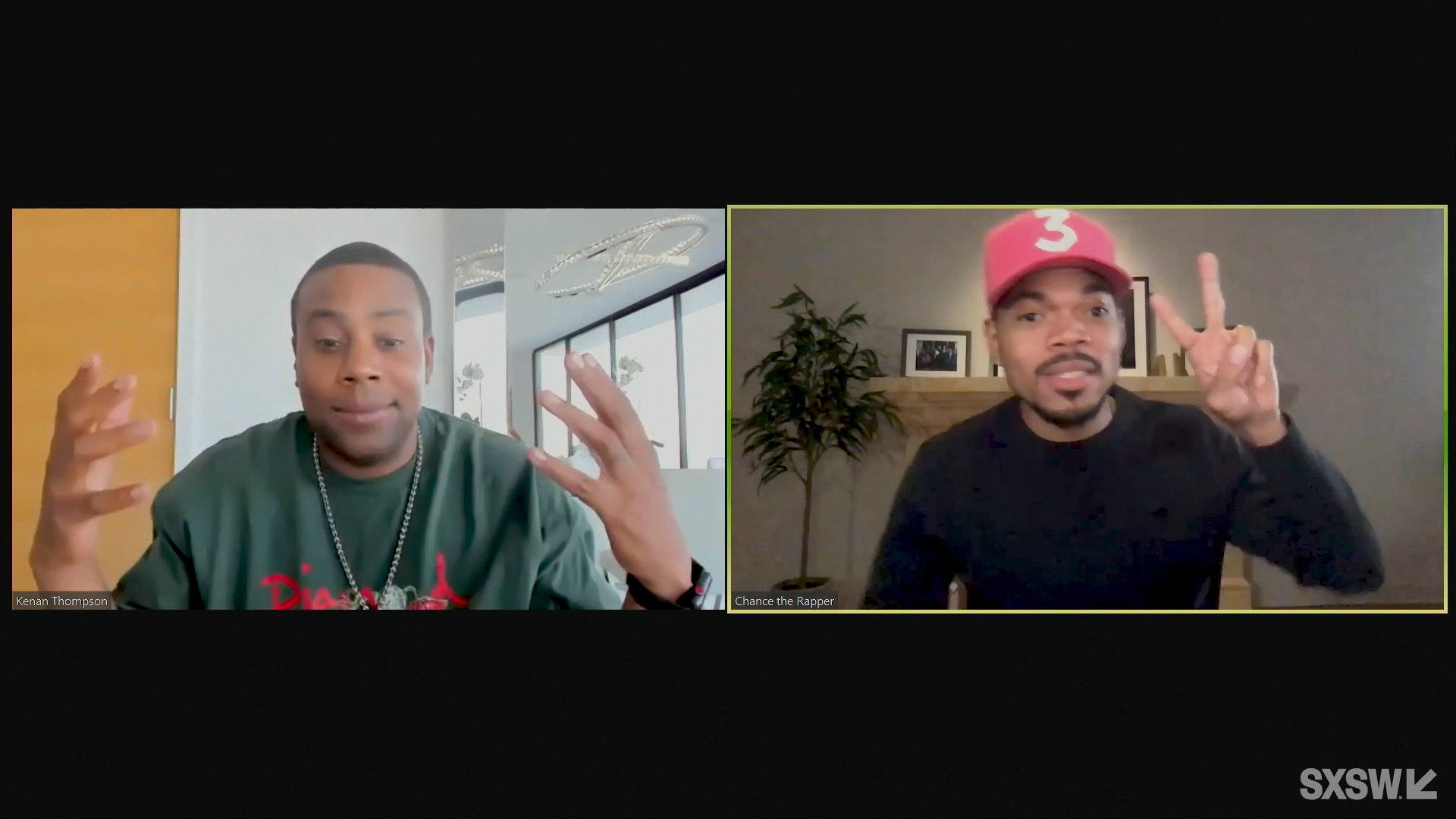 """From left: Kenan Thompson and Chance the Rapper speak at the featured session """"A Conversation with Kenan Thompson and Chance the Rapper"""" during SXSW Online on March 17, 2021."""