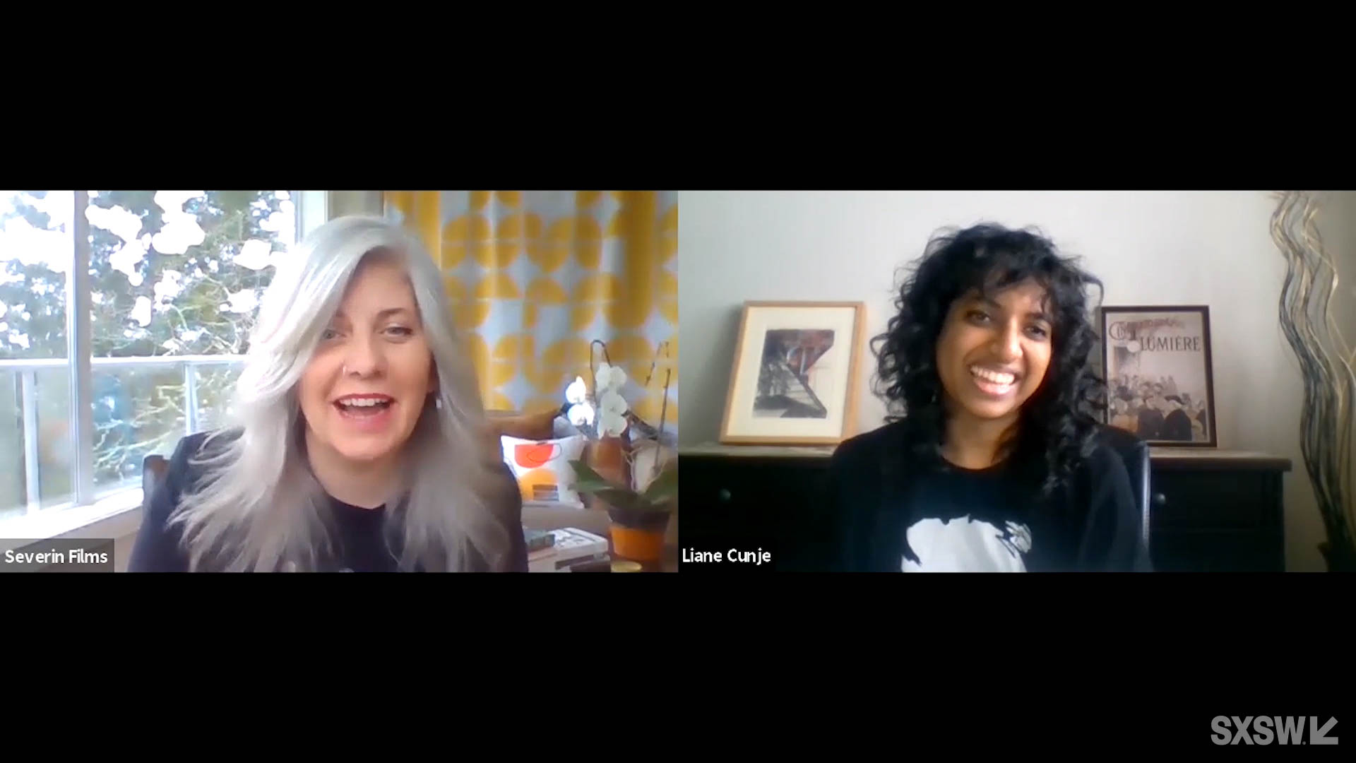"""Liane Cunje moderates as director Kier-La Janisse answers questions for """"A Q&A with Kier-La Janisse of 'Woodlands Dark and Days Bewitched'"""" at SXSW Online on March 17, 2021."""