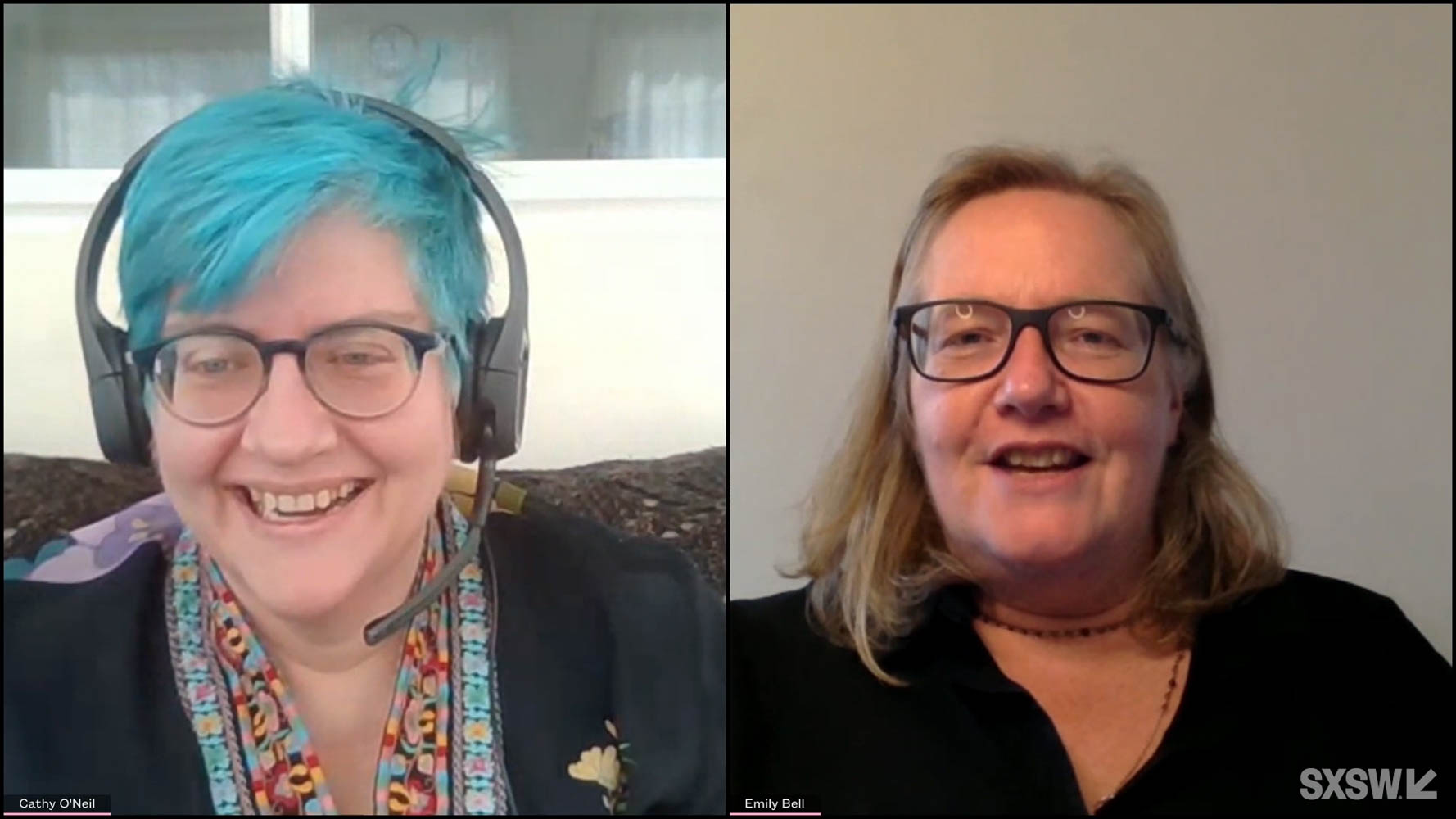 """From left: Cathy O'Neil and Emily Bell speak during their featured session """"AI Will Not Solve Your Nazi Problem"""" at SXSW Online on March 19, 2021."""