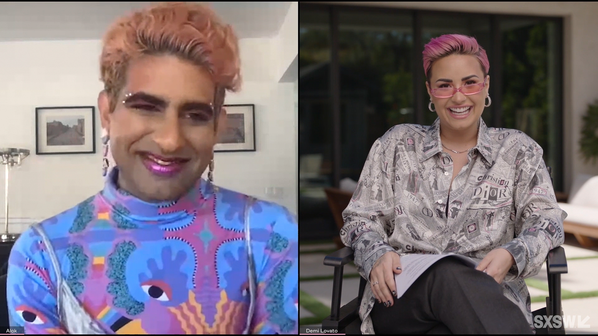 """Demi Lovato and Alok Vaid-Menon speak at the featured session """"Beyond the Gender Binary"""" during SXSW Online on March 19, 2021."""
