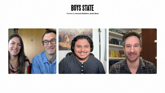 """Jesse Moss, Amanda McBaine, Steven Garza, and Ryan Heath speak during the session """"Boy's State: Documenting a New Political Generation"""" at SXSW Online on March 20, 2021."""