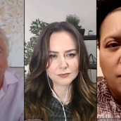 """Sir Richard Branson (left), Celia Ouellette (center), and Sabrina Butler-Smith (right) speak at the featured session """"Business Leaders Against the Death Penalty"""" during SXSW Online on March 18, 2021."""