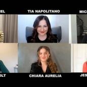 "Jessica Radloff moderates the ""Cruel Summer"" Q&A with Jessica Biel, Tia Napolitano, Michelle Purple, Olivia Holt, and Chiara Aurelia at SXSW Online on March 19, 2021."