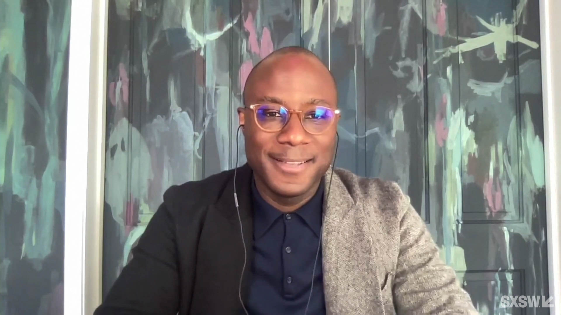 """Barry Jenkins answers questions at the SXSW Film Festival Premiere of """"From Moonlight to The Underground Railroad - Barry Jenkins & Composer Nicholas Britell"""" during SXSW Online on March 16, 2021."""