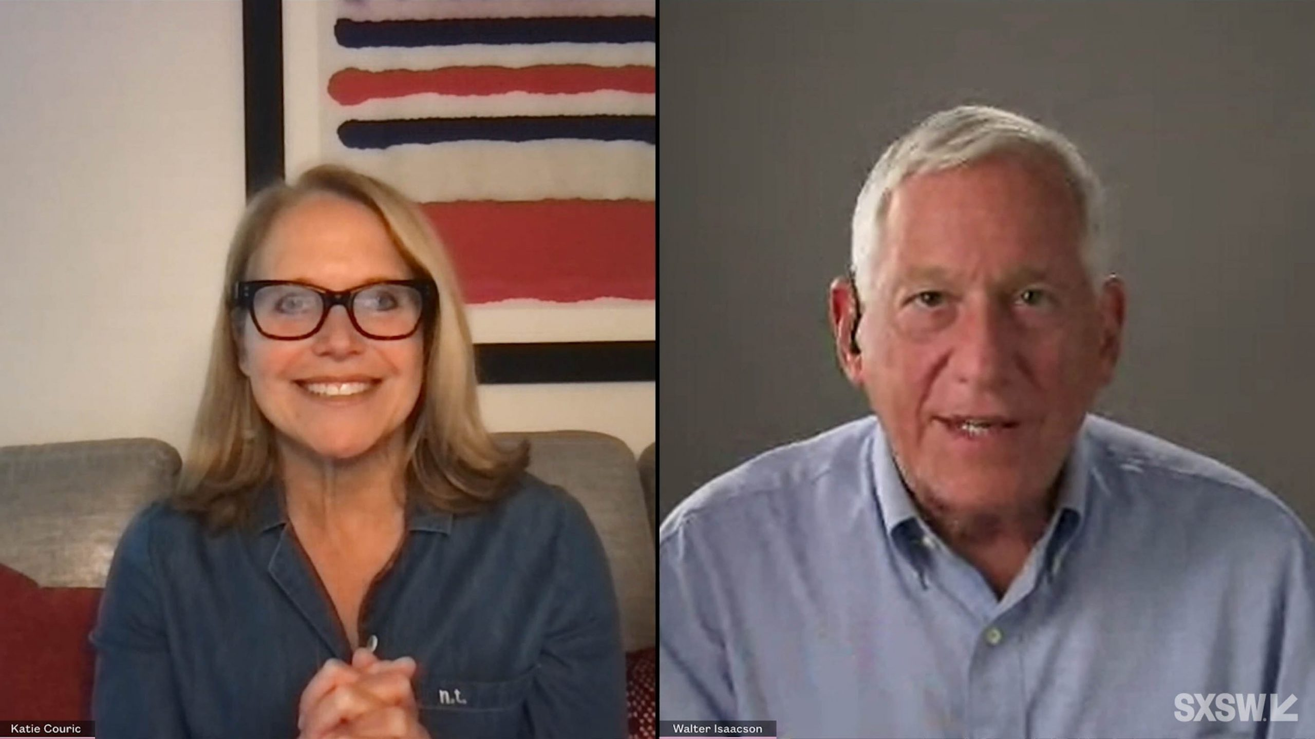"""From left: Katie Couric and Walter Isaacson speak at the featured session """"Gene Editing: The Biotech Revolution of our Times"""" during SXSW Online on March 19, 2021."""