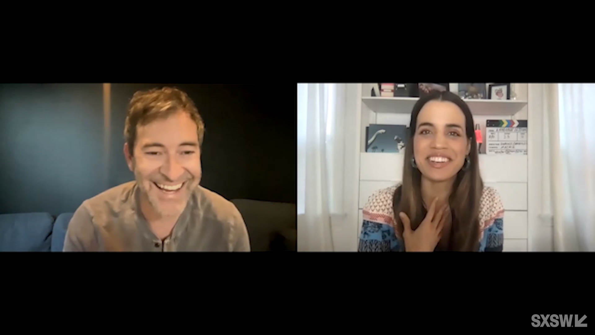 Mark Duplass and Natalie Morales speak during their featured session at SXSW Online on March 18, 2021.