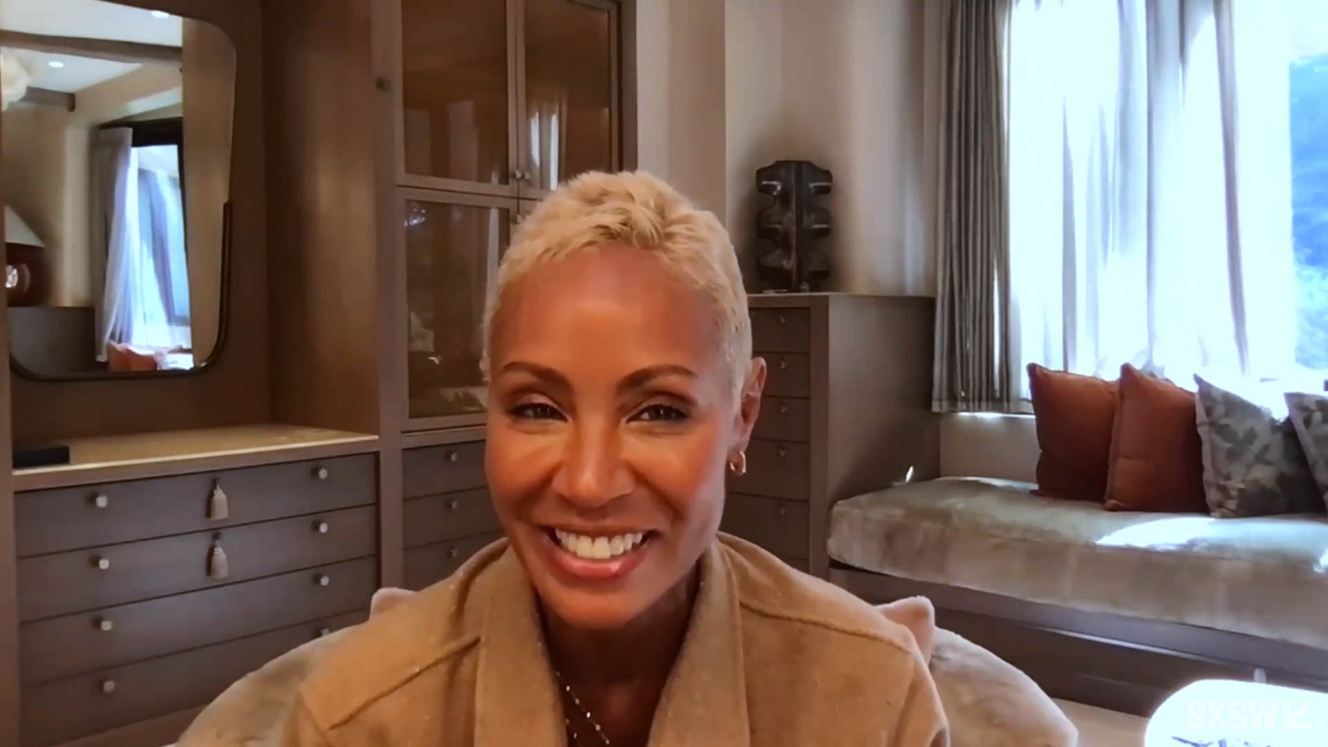 """Jada Pinkett Smith answers questions at the SXSW Film Festival Premiere of """"Them"""" during SXSW Online on March 18, 2021."""