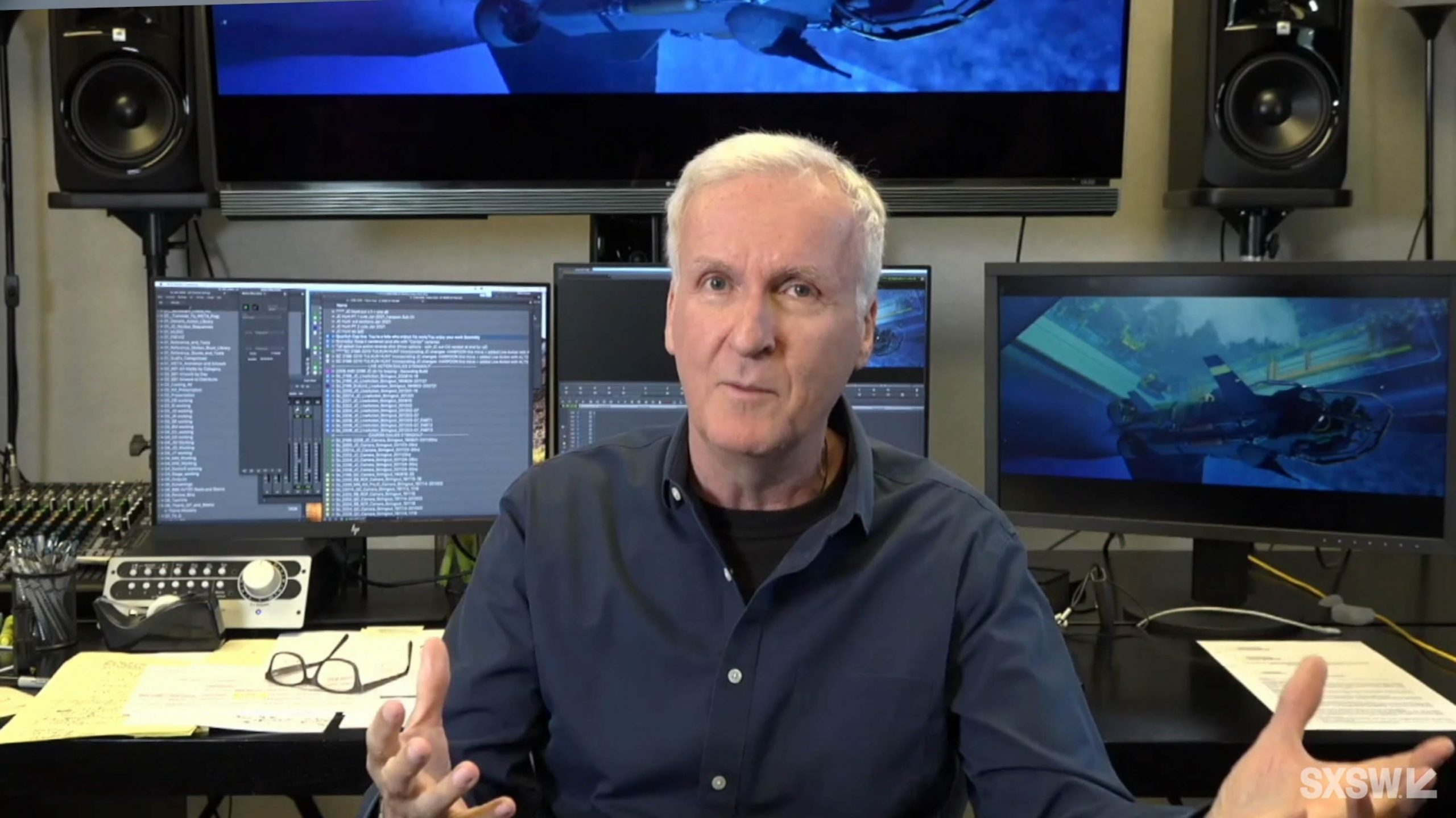 James Cameron speaks during the featured session at SXSW Online on March 18, 2021